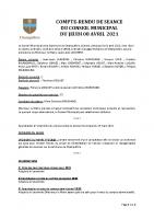 Compte-rendu municipal 8 AVRIL 2021