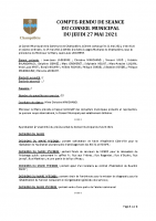 Compte-rendu municipal 27 Mai 2021